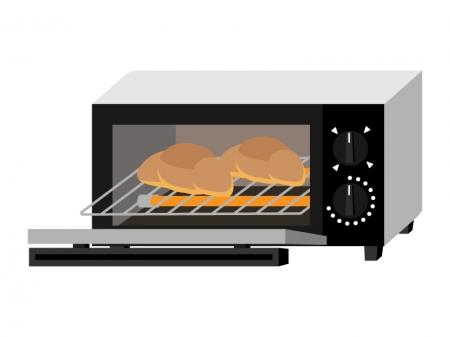 オーブントースターと焼けたパンのイラスト