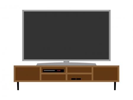 大型テレビとテレビボードのイラスト