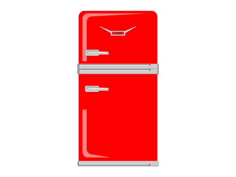 おしゃれな赤い冷蔵庫のイラスト