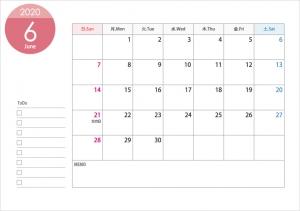 A4横・2020年6月(令和2年)カレンダー・印刷用
