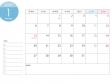 月曜始まりのA4横・2020年(令和2年)1月のカレンダー・印刷用