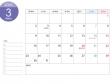 月曜始まりのA4横・2020年(令和2年)3月のカレンダー・印刷用