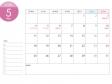 月曜始まりのA4横・2020年(令和2年)5月のカレンダー・印刷用
