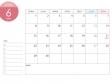 月曜始まりのA4横・2020年(令和2年)6月のカレンダー・印刷用