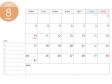 月曜始まりのA4横・2020年(令和2年)8月のカレンダー・印刷用