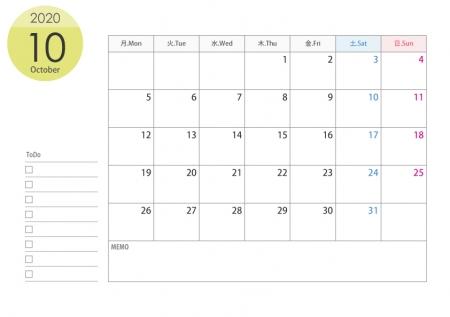 月曜始まりのA4横・2020年(令和2年)10月のカレンダー・印刷用