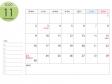 月曜始まりのA4横・2020年(令和2年)11月のカレンダー・印刷用