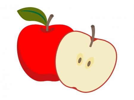 カットしたリンゴのイラスト