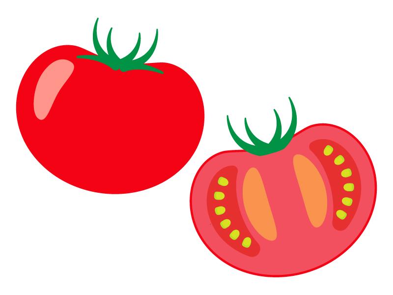 半分にカットしたトマトのイラスト