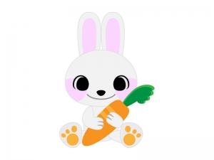 人参を持ったかわいいウサギのイラスト