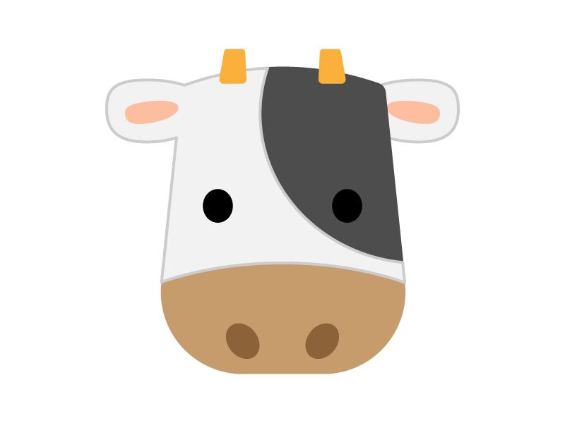 かわいい牛(顔)のイラスト