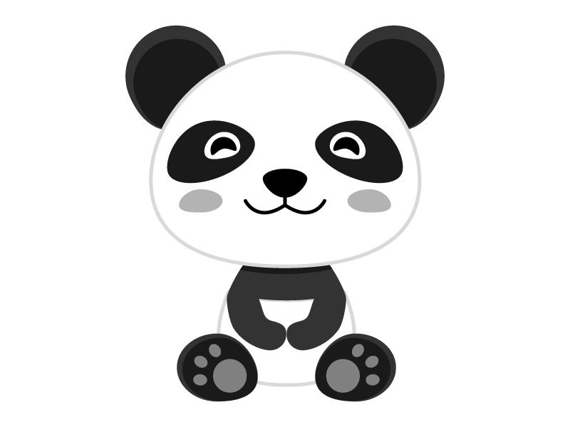 笑顔のかわいいパンダのイラスト