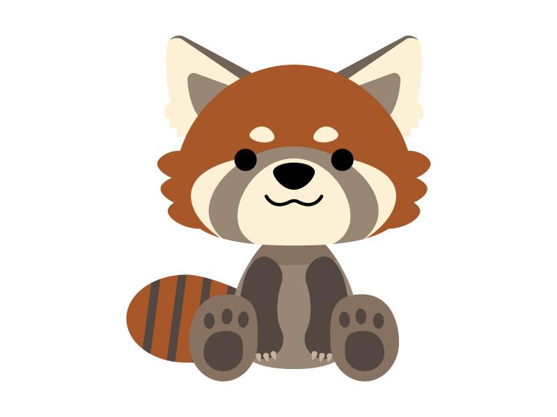 かわいいレッサーパンダのイラスト