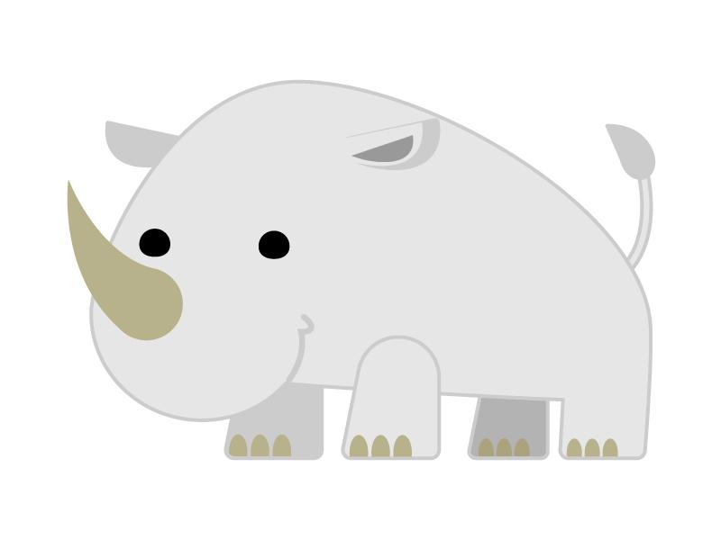かわいいのサイ(犀)のイラスト