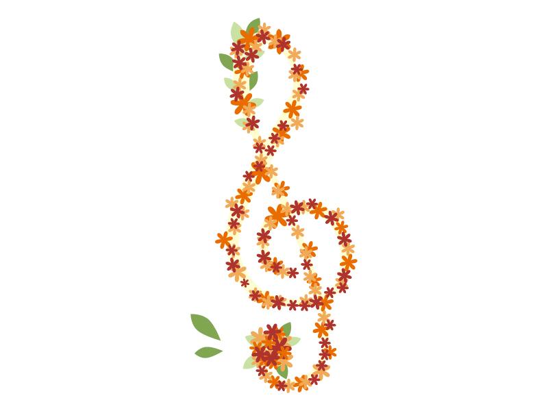 秋の紅葉のト音記号のイラスト