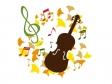 紅葉とヴァイオリンのイラスト