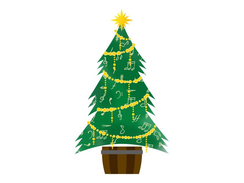 音符のクリスマスツリーのイラスト