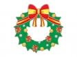 リボン付きのクリスマスリースのイラスト