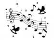 白黒の音符や五線譜のイラスト