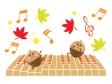 紅葉など秋の音楽のイラスト