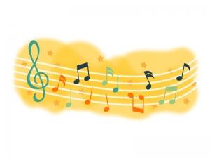 オレンジカラーの音符のイラスト