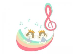 妖精と音符のイラスト