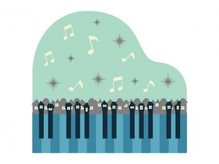 冬の街とピアノのイラスト