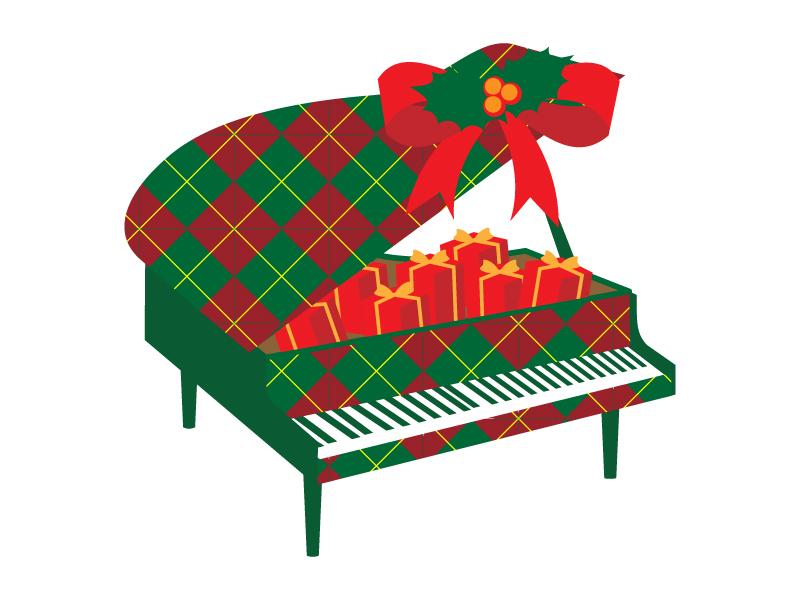 クリスマスカラーのグランドピアノのイラスト