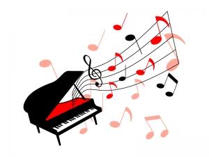 音符とグランドピアノのイラスト
