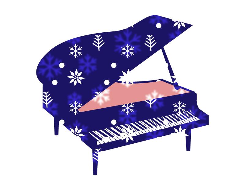 雪の結晶とグランドピアノのイラスト