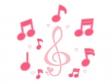ポップなト音記号や音符のイラスト