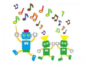 ロボットと演奏のイラスト