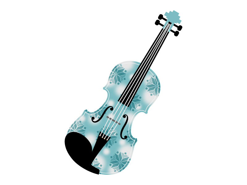 雪の結晶とヴァイオリンのイラスト