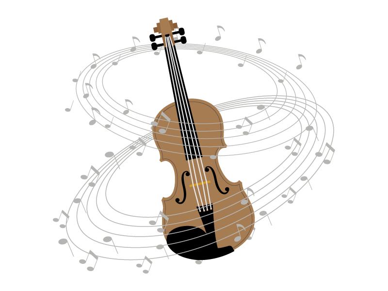 ヴァイオリンと音符のイラスト