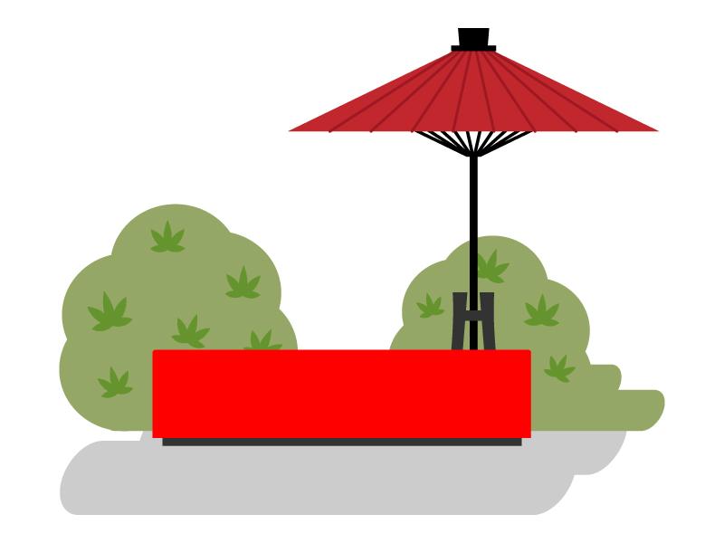 野点傘のイラスト