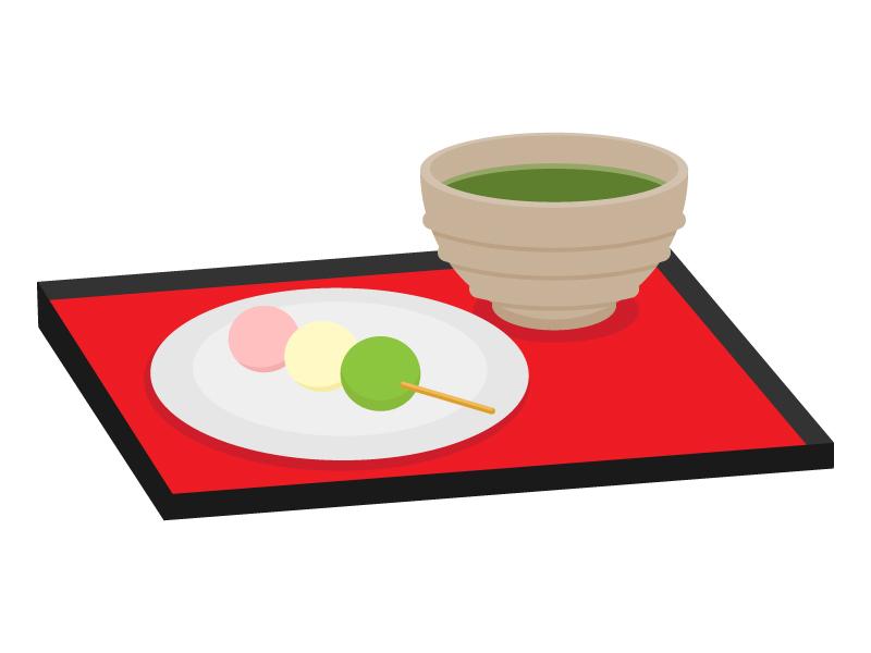 三色団子とお茶のイラスト