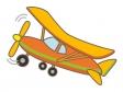 プロペラ式の飛行機のイラスト
