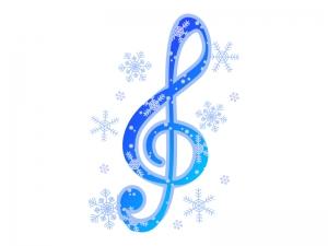 冬をイメージしたト音記号(音楽)のイラスト