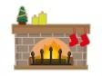 クリスマスツリーと暖炉のイラスト