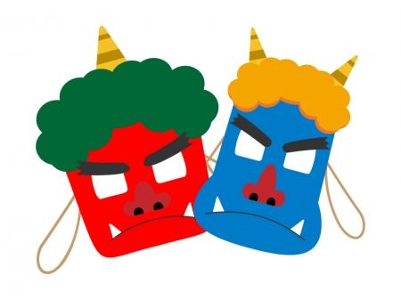 赤鬼と青鬼のお面のイラスト
