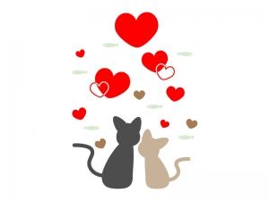 ハートと猫のイラスト
