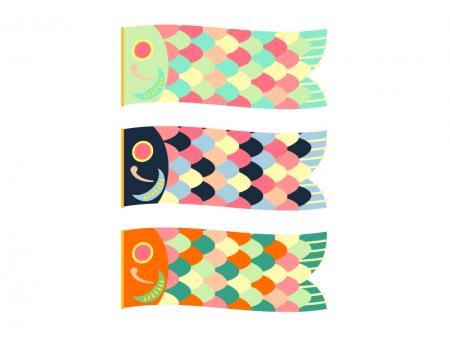 カラフルな鯉のぼりのイラスト