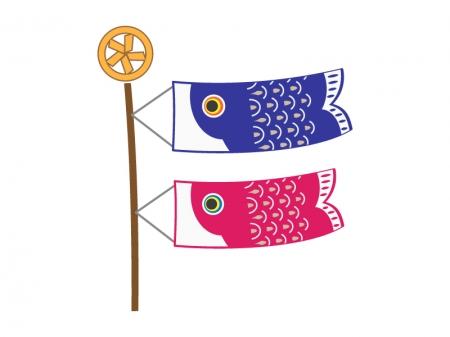子どもの日・かわいい鯉のぼりのイラスト