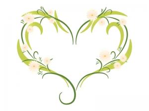 花でデザインされたハートのイラスト