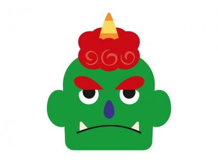 緑の鬼(顔)のイラスト
