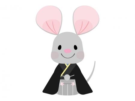 袴を着たねずみのイラスト