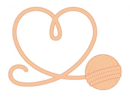 毛糸とハートのイラスト
