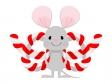 紅白のしめ縄とねずみのイラスト