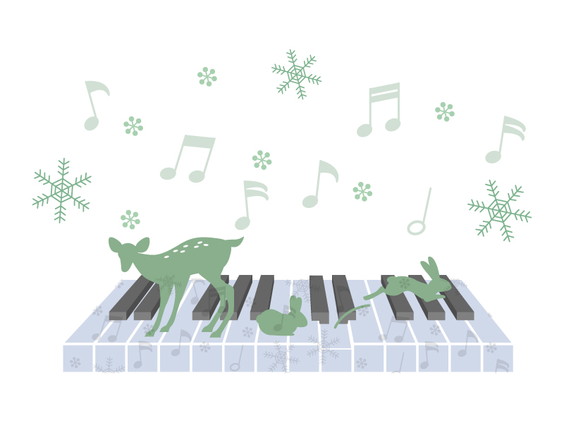 動物たちとピアノのイラスト