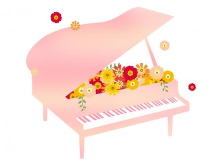 たくさんの花とグランドピアノのイラスト